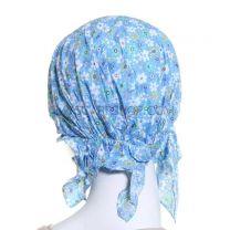 Blue Floral Cotton Headwrap