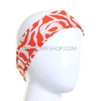 Bright Red Abstract Rose Wide Headband