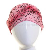 Pink Leopard Print Chiffon Headwrap