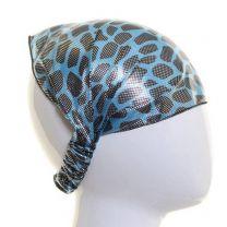 Blue Metallic Animal Print Headwrap