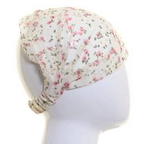 Cream Floral Chiffon Headwrap
