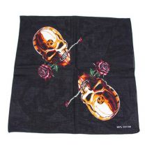 Black Skull and Roses Bandana