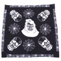 Black Skull Heads & Spiderwebs Bandana