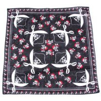 Black Pirate Skulls and Swords Cotton Bandana