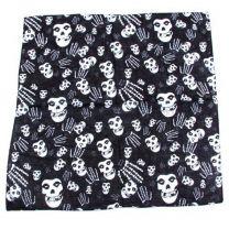 Black Skull & Skeletal Hand Bandana