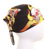 Black Wild Flaming Skulls Bandana