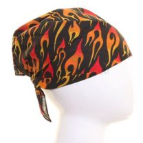Black Burning Flames Printed Bandana