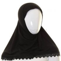 Children's Lace Trim 1 Piece Al Amira Hijab (Black)