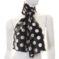 Black Big Polka Dot Satin Stripe Scarf