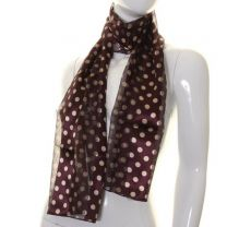 Plum Polka Dot Satin Stripe Scarf