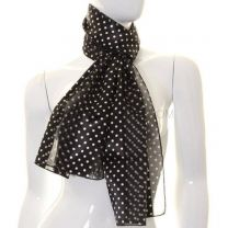 Black Small Polka Dot Satin Stripe Scarf