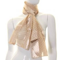 Beige Small Polka Dot Satin Stripe Scarf