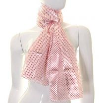 Mini Polka Dot Satin Stripe Scarf (Red & White)
