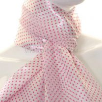 White & Pink Mini Polka Dot Satin Stripe Scarf