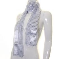 White and Blue Mini Polka Dot Satin Stripe Scarf