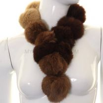 Brown Tone Rabbit Fur Pom Pom Scarf