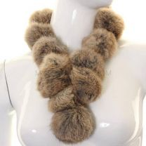 Beige Rabbit Fur Pom Pom Neck Scarf