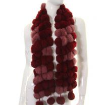 Burgundy Pink Rabbit Fur Pom Pom Scarf