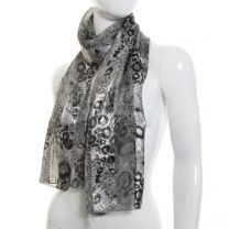 Grey Animal Print Satin Scarf