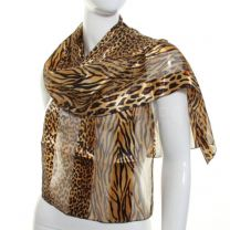 Gold Assorted Animal Print Satin Scarf