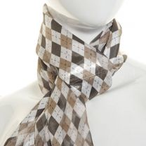 Grey Diamonds Print Satin Stripe Scarf