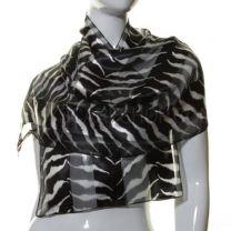 Black Zebra Print Satin Stripe Scarf