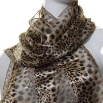 Brown Animal Print Satin Stripe Scarf