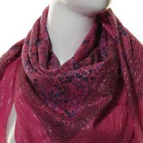 Pink Lurex Paisley Square Cotton Scarf