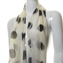 White Large Dots Chiffon Neck Scarf