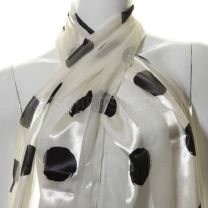 White Large Dots Satin Stripe Scarf
