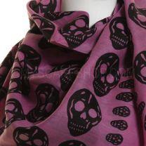 Pink Skull Print  Cotton Square Scarf