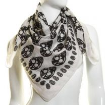 White Skull Print Cotton Square Scarf