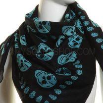 Turquoise Skulls Cotton Square Scarf