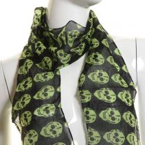 Green Skulls Cotton Neck Scarf