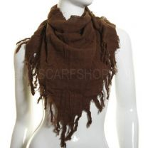 Brown Tassel Triangle Scarf