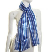 Blue Vertical Stripes Satin Stripe Scarf