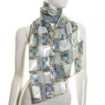 Sky Blue Checkered Chains Satin Stripe Scarf