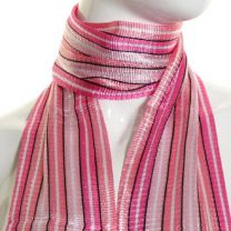 Pink Stripes Belt Scarf with Fringes
