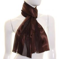 Dark Brown Satin Stripe Scarf
