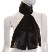 Black Satin Stripe Scarf