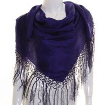 Purple Large Square Silk Scarf with Tassels