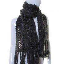 Charcoal Grey Pom Pom Knitted Scarf