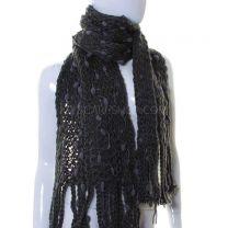 Charcoal Grey Pom Pom Knitted Scarf