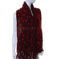 Burgundy Pom Pom Knitted Scarf