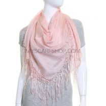 Light Pink Large Square Silk Scarf with Tassels