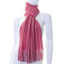 Pink Stripes Knitted Wool Scarf