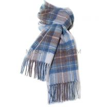 Lambswool Scarf in Muted Blue Stewart Tartan