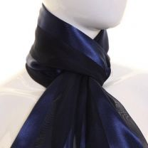 Navy Satin Stripe Scarf