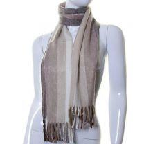 Beige Stripes Wool Mix Winter Scarf