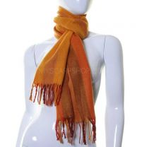 Wool Mix Winter Scarf (Orange Stripes)